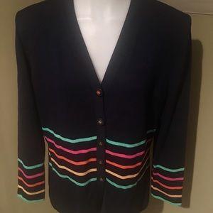 St. John Women's Navy Knit Button Down Tunic SZ 8